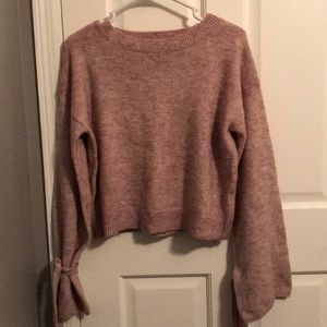 Forever 21 Tie Bell-sleeve Sweater Top